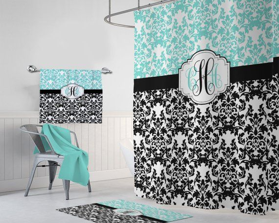 Damask SHOWER CURTAIN, Aqua Black Master Bathroom Decor, Girl Dorm MONOGRAM  Personalized Shower Curtain