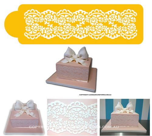 """This lace pattern measures 3""""H x 11""""wide and made out of foodgrade plastic - perfect for a stylish cake.  Check out th"""