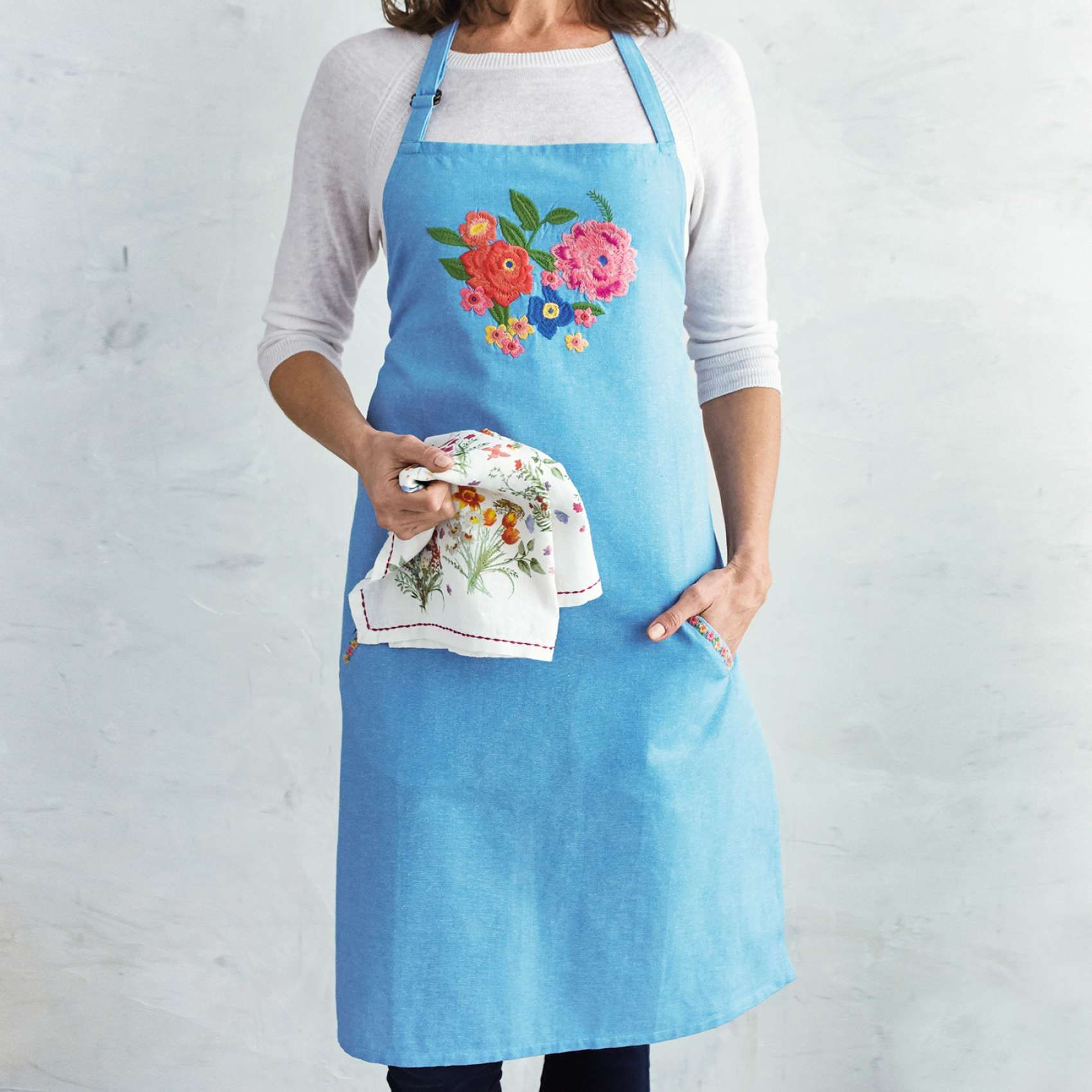 Floral Embroidered Chambray Apron Sur La Table C P
