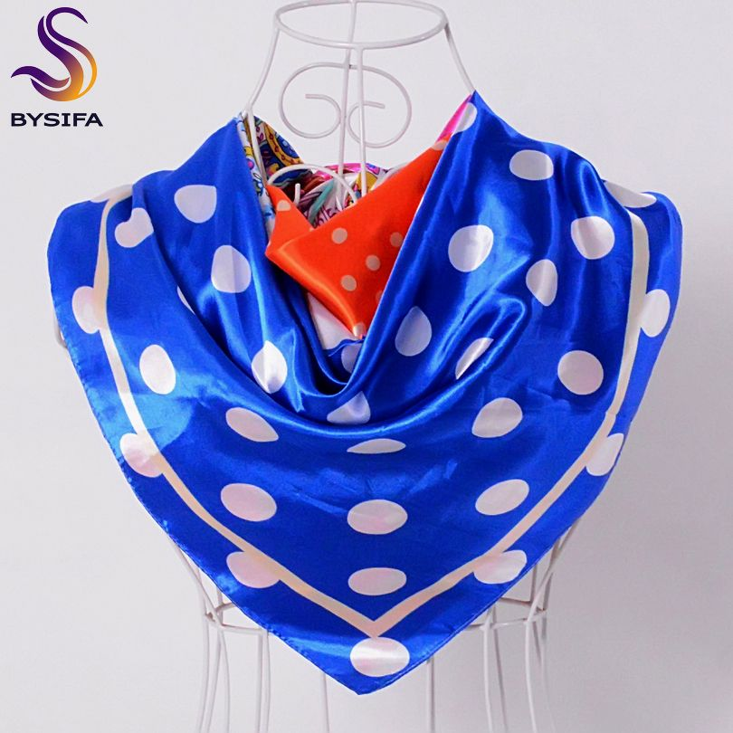 >> Click to Buy << [BYSIFA] Blue Dot Satin Square Scarves Spring Autumn Turkey Ladies Head Scarf Cape Summer Air-Condition Shawl Scarf #Affiliate