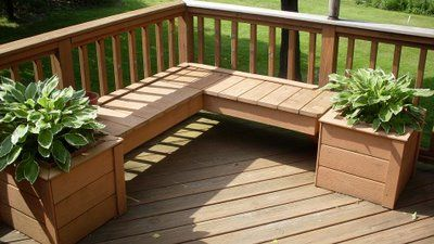 Wonderful Wooden Planter Set Makes A Fine Deck Accessory... Like The Corner Bench Idea