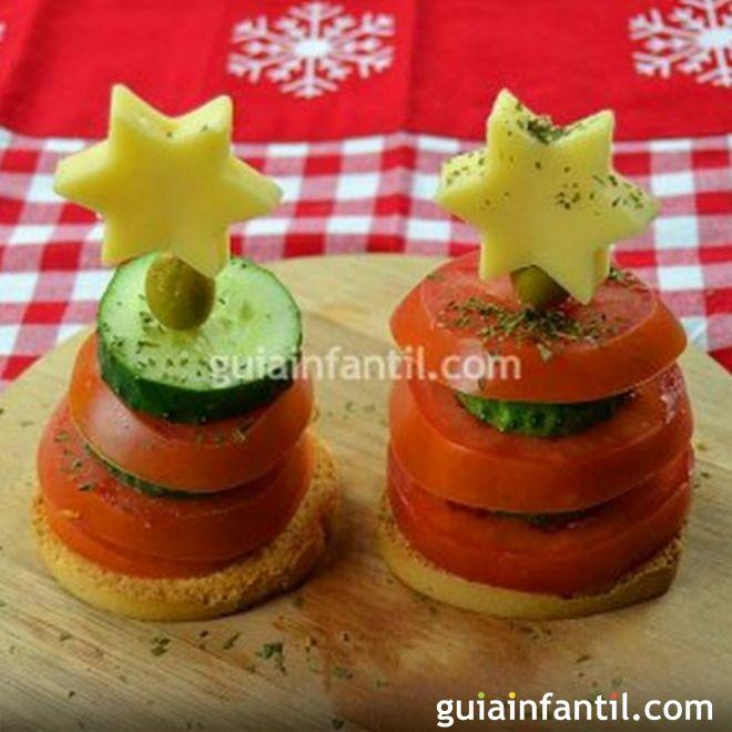 Canapés Para Niños Con Forma De árbol De Navidad Comida De Navidad Recetas De Navidad Cena De Nochebuena