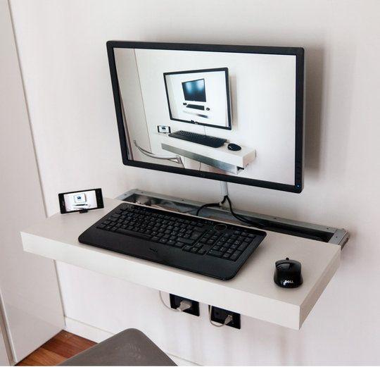 Rea S Sliding And Floating Mini Pc Desk Floating Computer Desk Floating Desk Pc Desk
