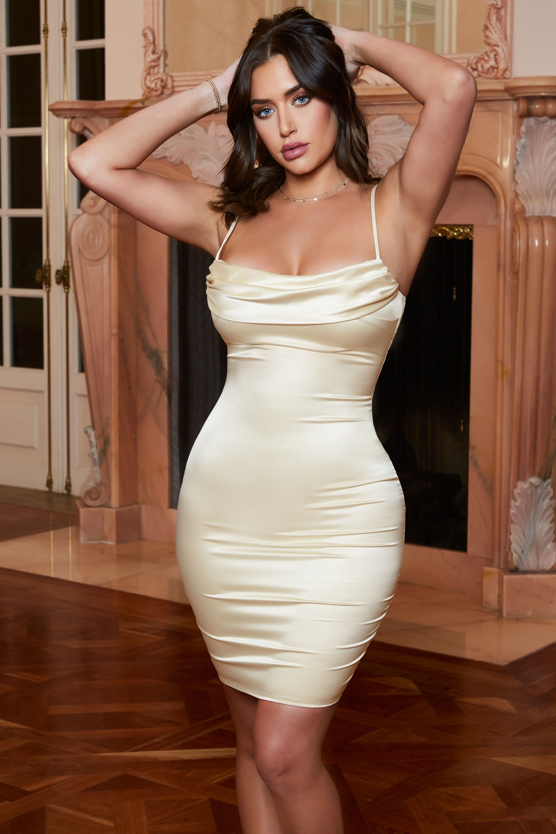 c02bbb7453 Cowl Hearted Cowl Neck Satin Midi Dress in Cream in 2019 | body ...