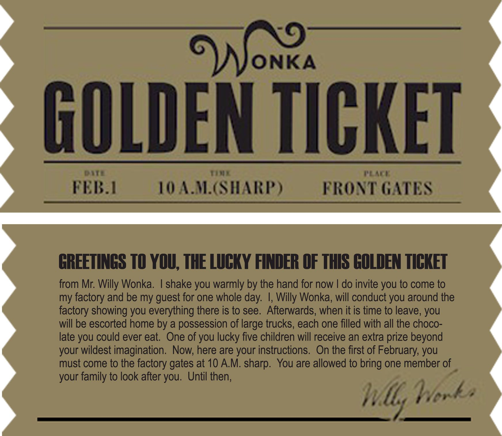 Golden Ticket (Charlie and the Chocolate Factory)   Birthday Ideas ...