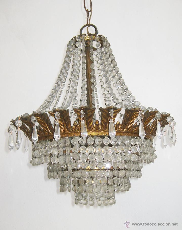 L mpara antigua en bronce y cristales de roca a os 40 - Lamparas cristal antiguas ...