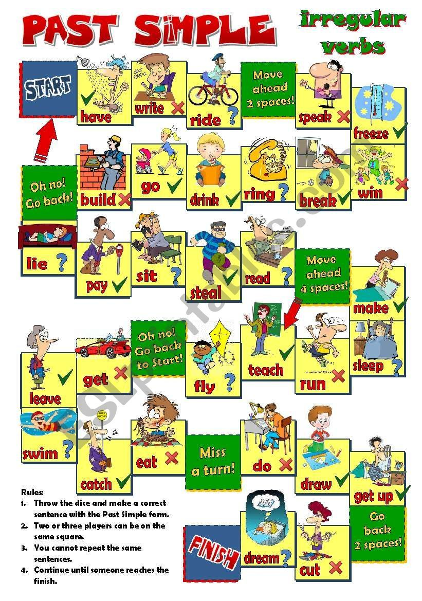 A board game to practise Past Simple irregular verbs. Students ...