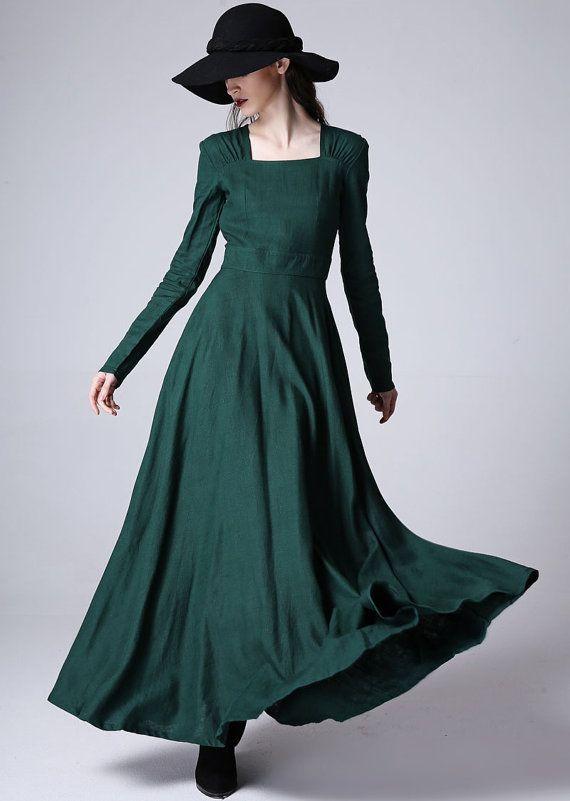 Französisch Kleid Maxi Kleid Boho Kleid bodenlangen von xiaolizi ...