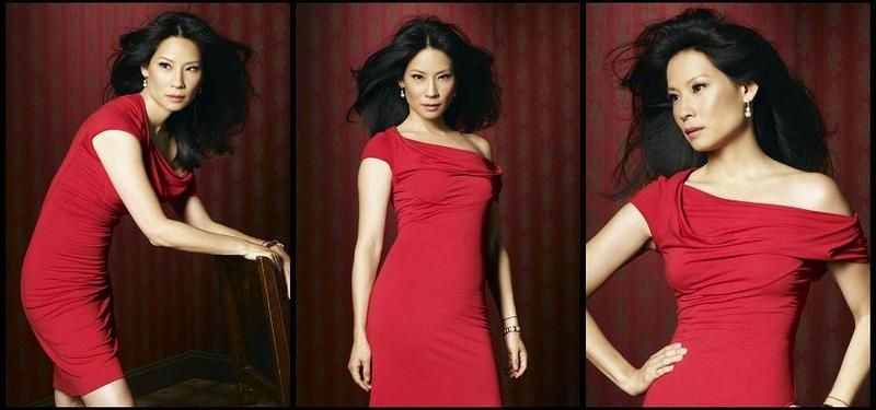 Lucy Liu posing for a photshoot promoting her TV show, 'Dirty Sexy Money'