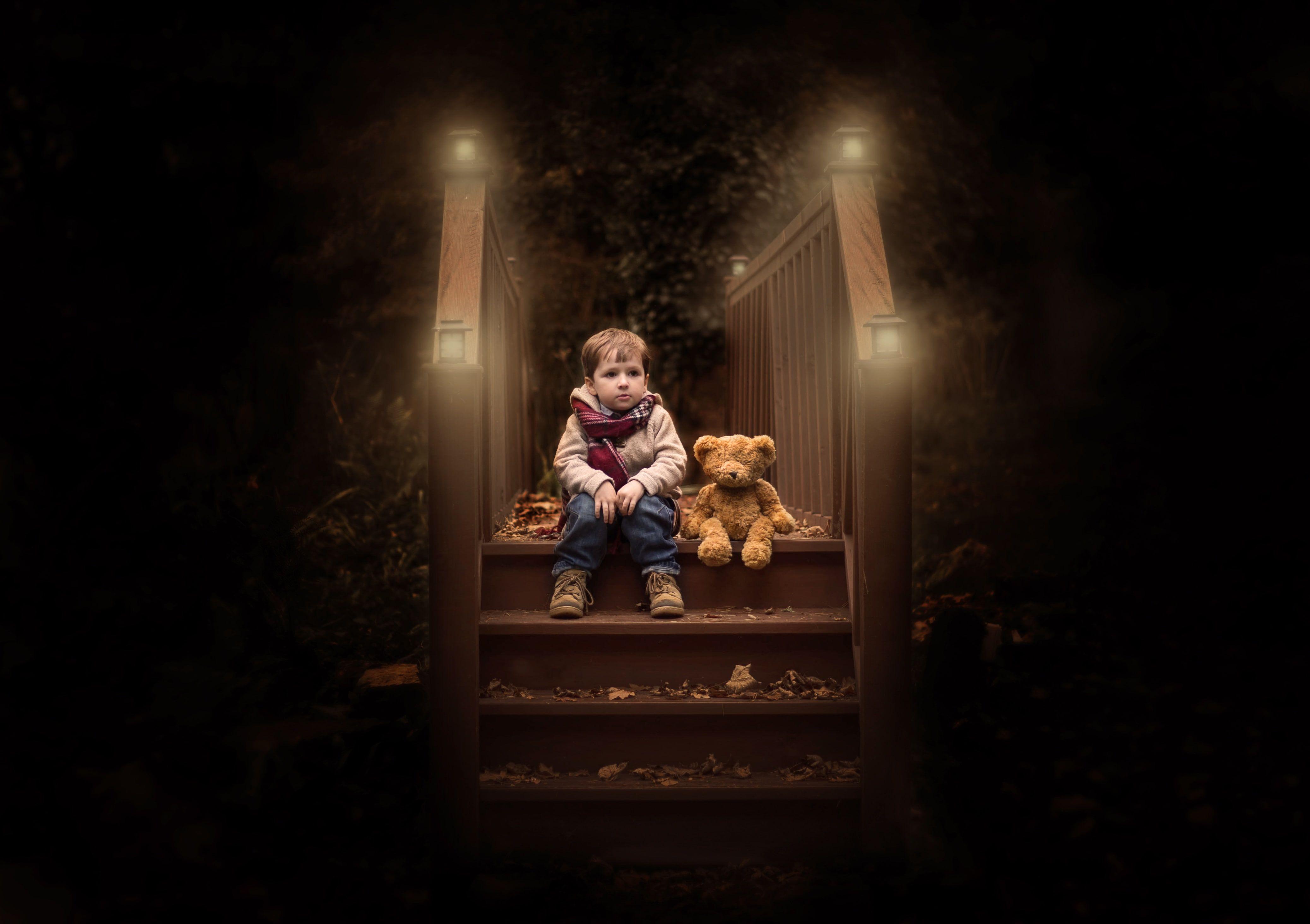 Cute Boy Wood Alone Foliage Autumn Teddy Bear 4k Lights 4k Wallpaper Hdwallpaper Desktop Teddy Bear Wallpaper Cute Boys Teddy Bear