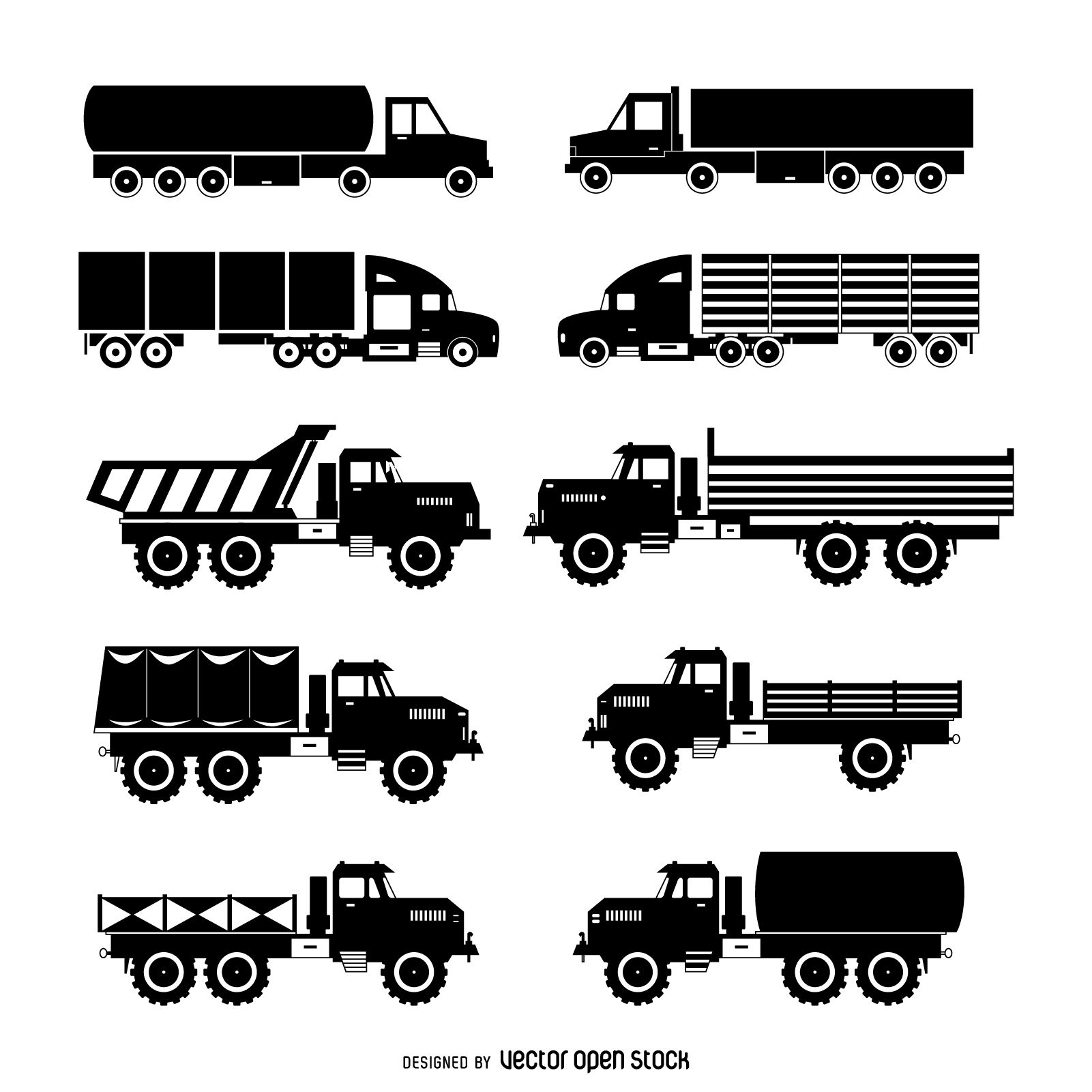 Set Of Isolated Truck Silhouettes Featuring Different