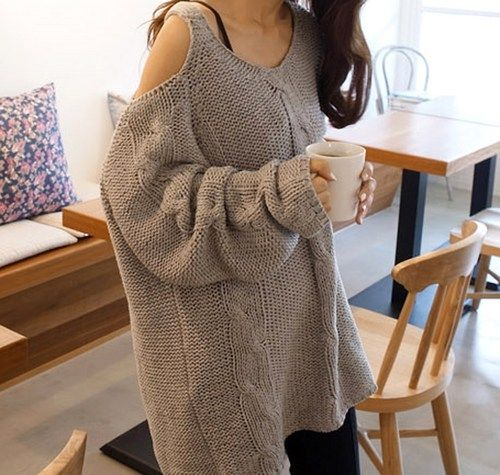 Off The Shoulder Chunky Knitted Sweater. Oversized Cozy Knit Top