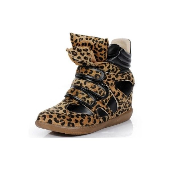 Must-have Leopard Wedge Sneakers ($120) ❤ liked on Polyvore featuring shoes, sneakers, oasap, white, velcro strap shoes, wedge sneakers, velcro shoes, wedge trainers and leopard print sneakers