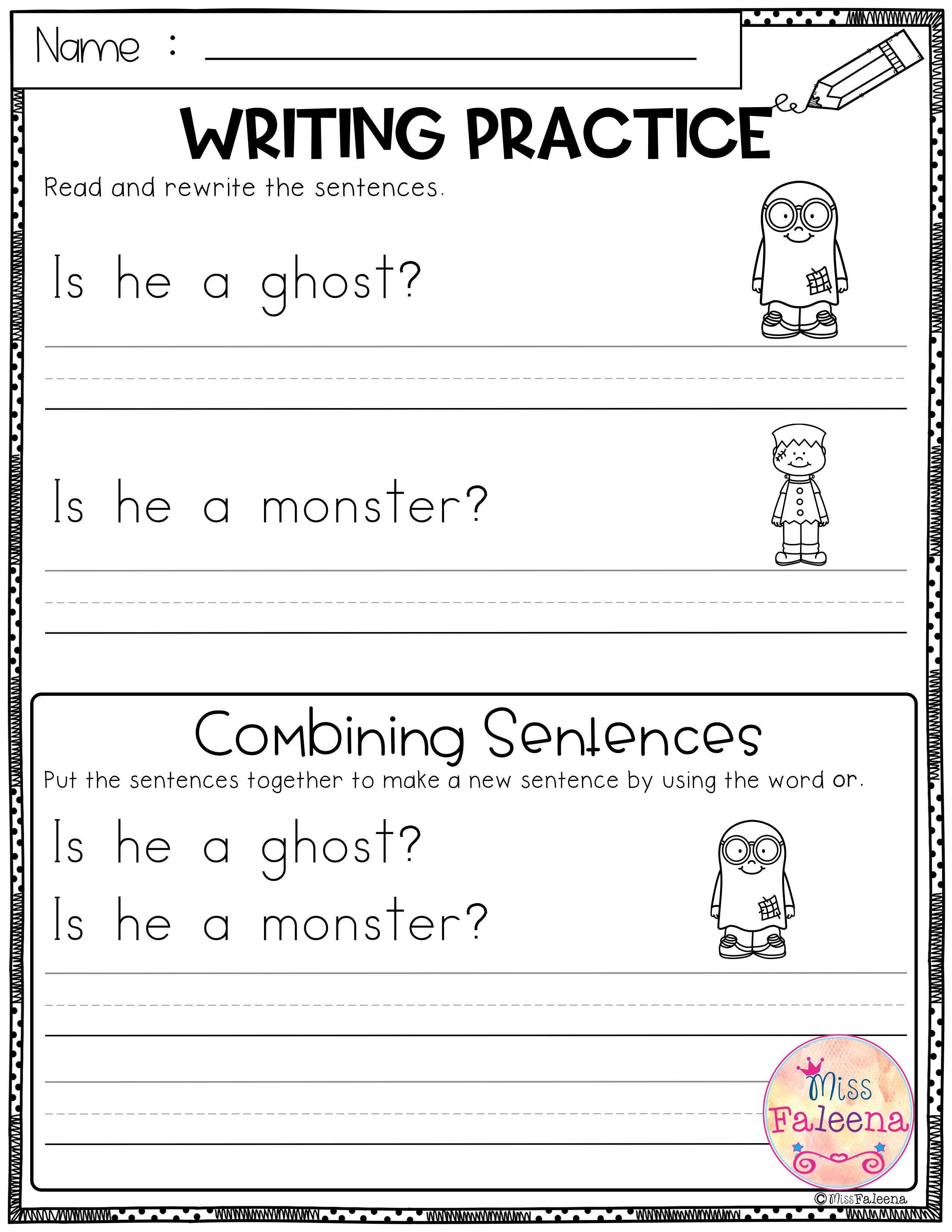 October Writing Practice Combining Sentences