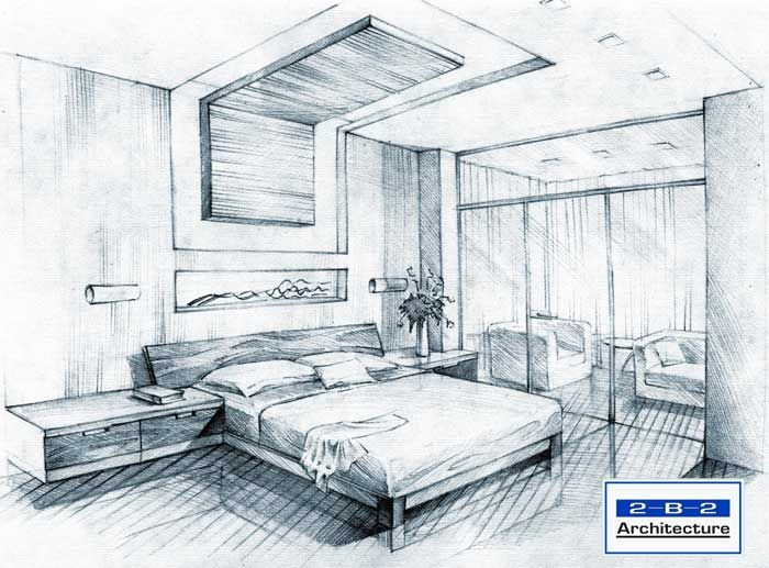 Simple bedroom sketch design sketches bedroom sketch for Architecture modern house design 2 point perspective view