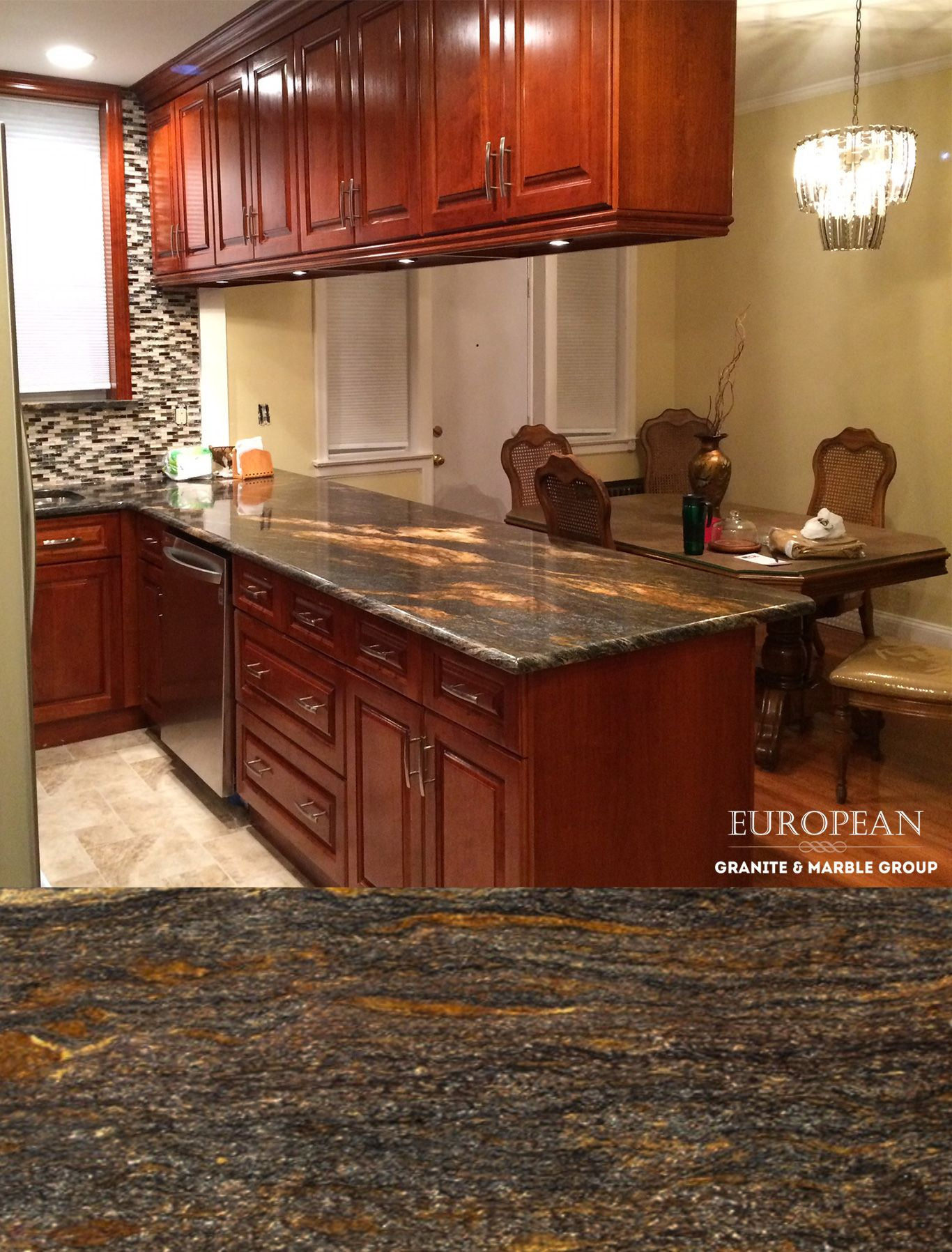 This kitchen design features Orion granite countertops. Orion ...