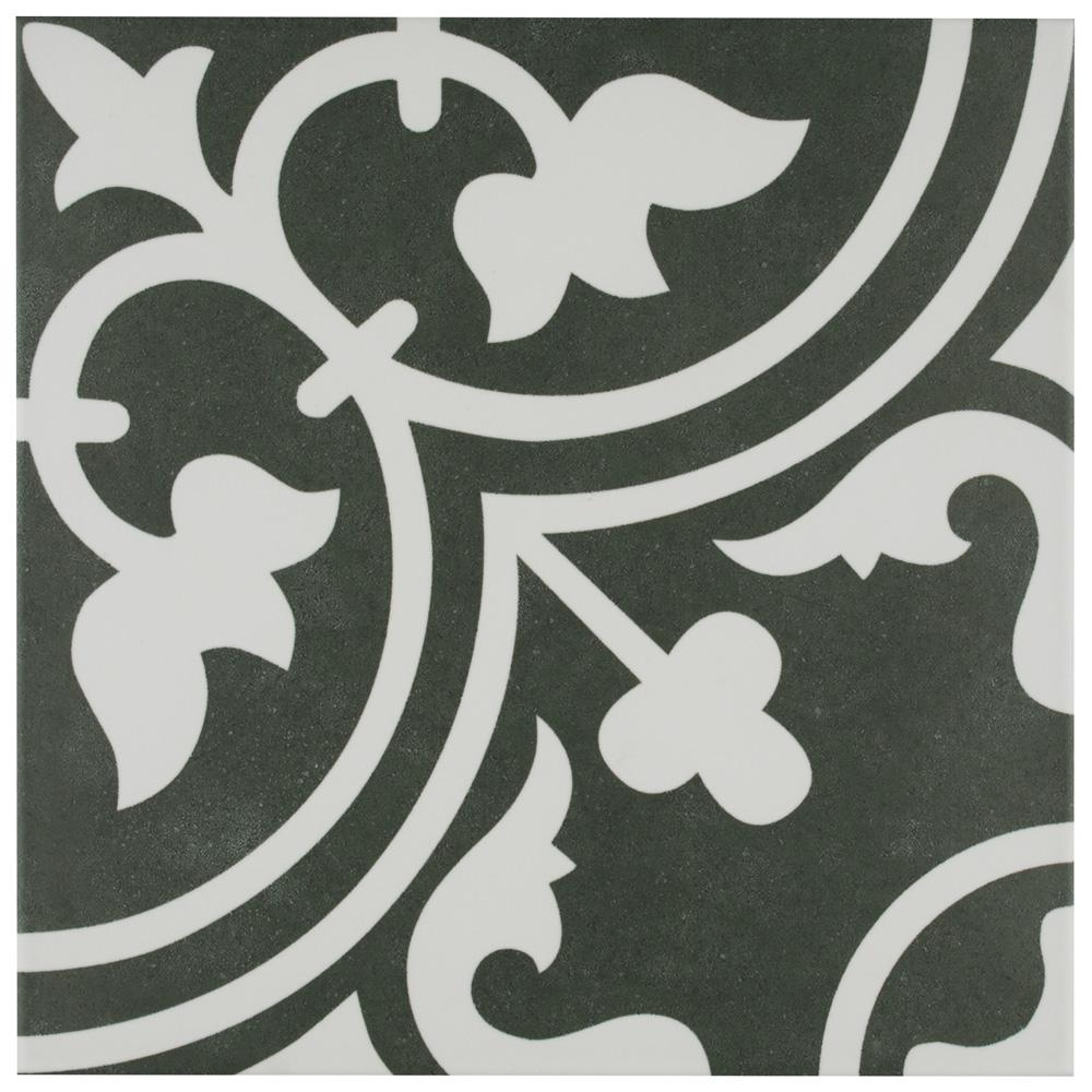 Merola Tile Arte Black Encaustic 9 3 4 In X 9 3 4 In Porcelain Floor And Wall Tile 11 11 Sq Ft Case Fcd10arb The Home Depot Porcelain Flooring Tile Floor Floor And Wall Tile