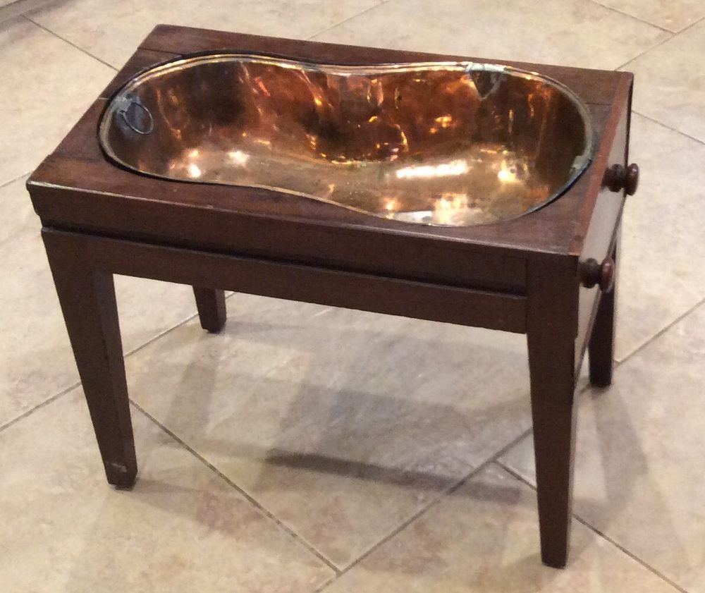 Rare Unusual Old Antique Copper W Wood Stand Baby Bath Tub With