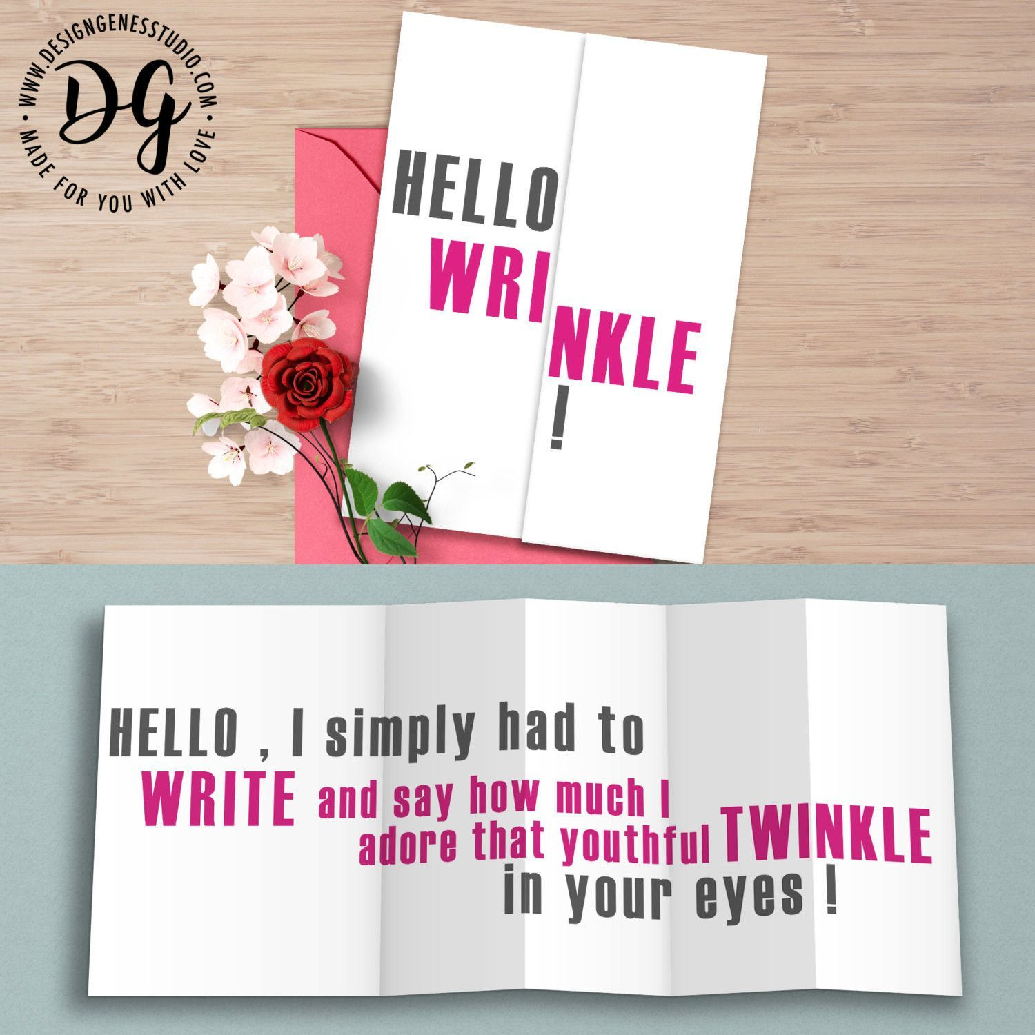 Funny Birthday Card For Her Hello Wrinkle Hidden Message Card