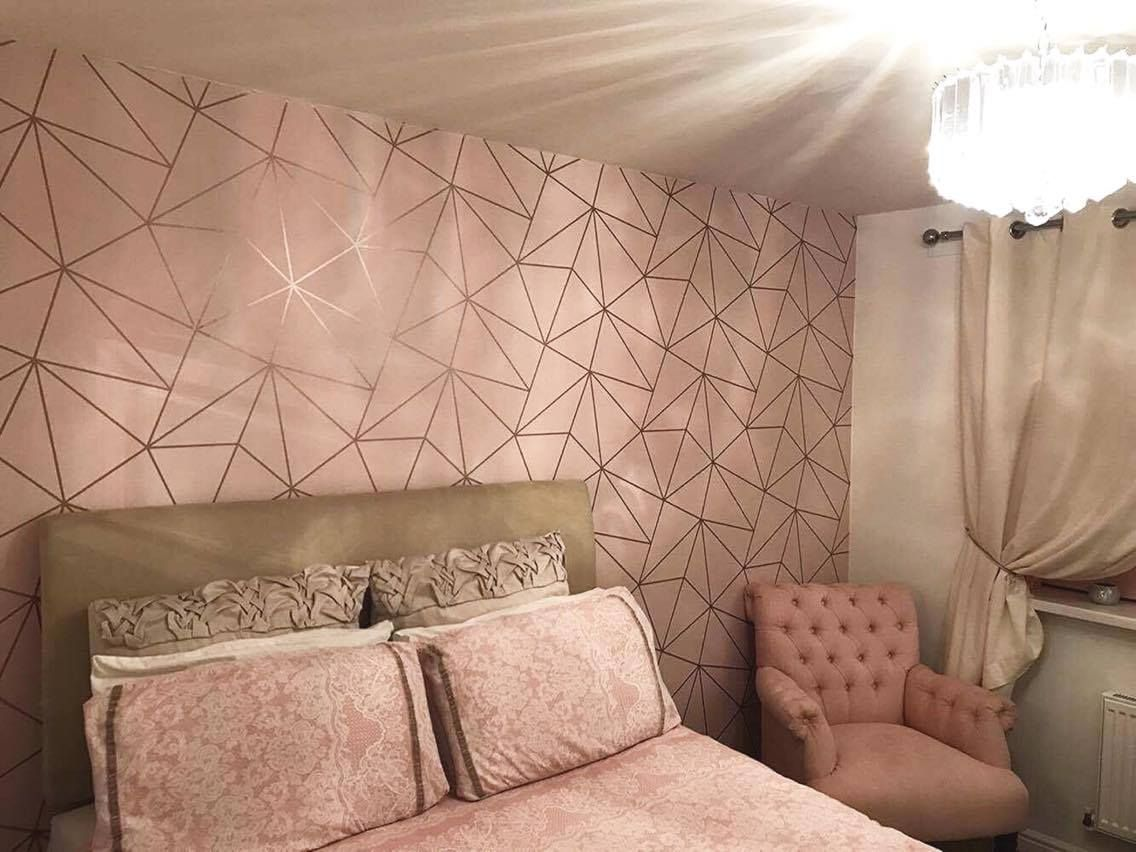 Zara Shimmer Metallic Wallpaper Soft Pink Rose Gold Gold Wallpaper Bedroom Rose Gold Bedroom Luxurious Bedrooms