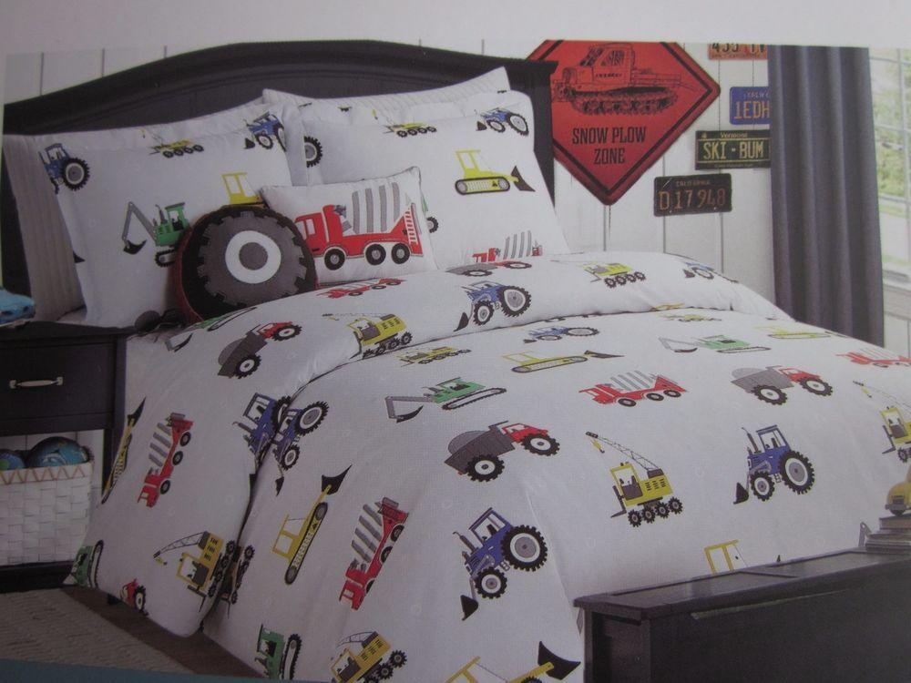 Boy Zone 4Pc Twin Construction Vehicle Bedding Set Comforter Sham 2 Pillows