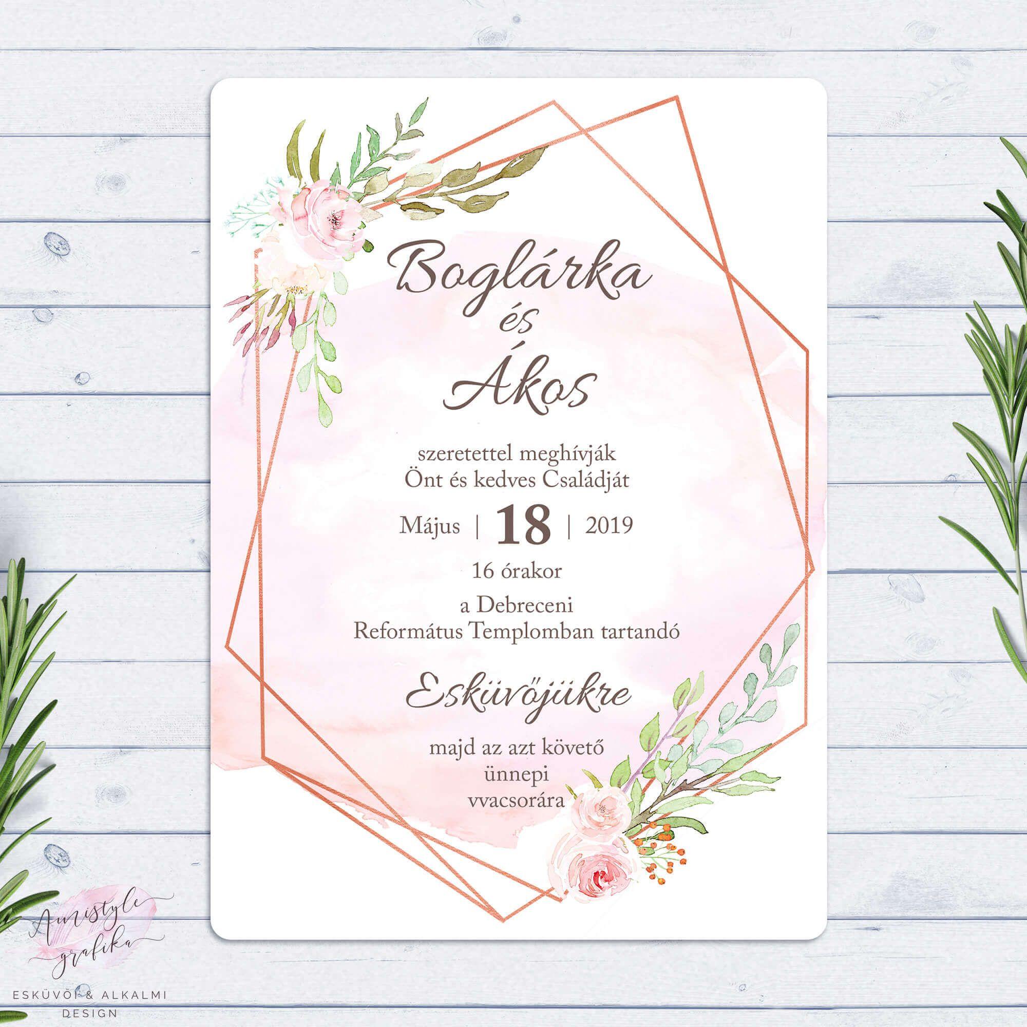 fbd47aa6f9 Virágos Geometrikus Rosegold Esküvői Meghívó | Esküvő ekkor: 2019