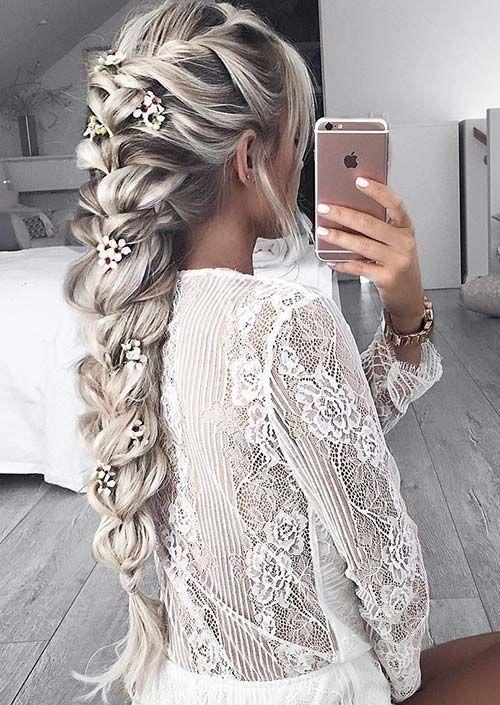 100 Trendy Long Hairstyles For Women Flower Embedded Braid Wedding Hair Plait
