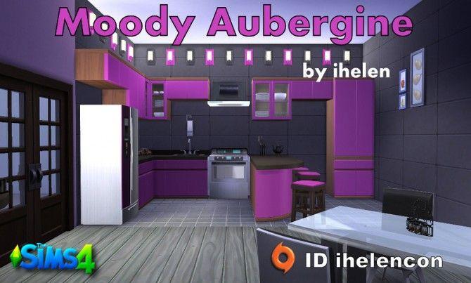Kitchen Moody Aubergine by ihelen at ihelensims via Sims 4 Updates