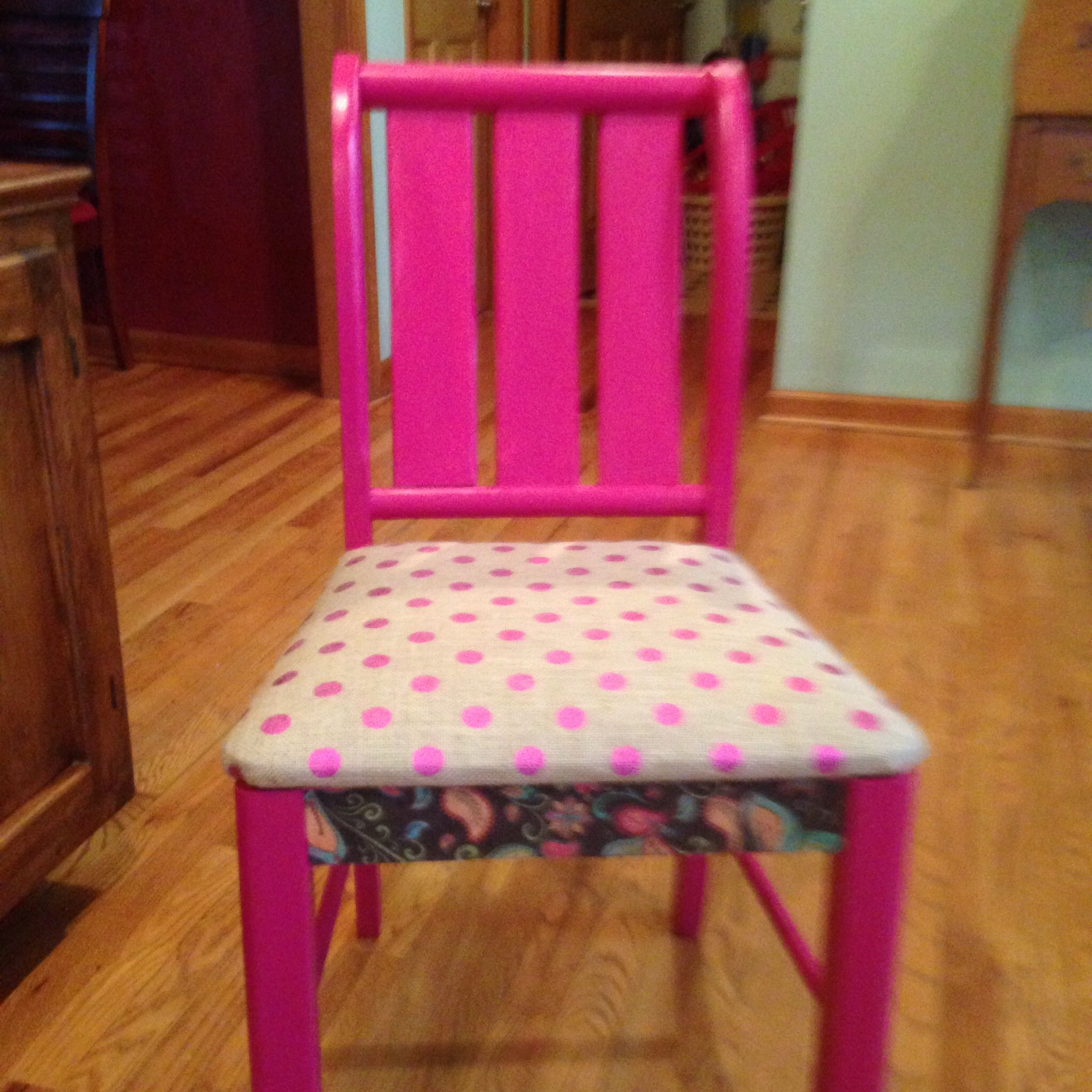 Saved chair #2--  first attempt at decoupaging.  Done with my daughter in mind ( her favorite color).