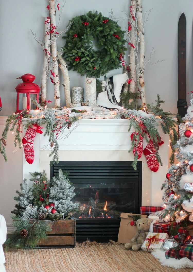Birch Christmas Mantle