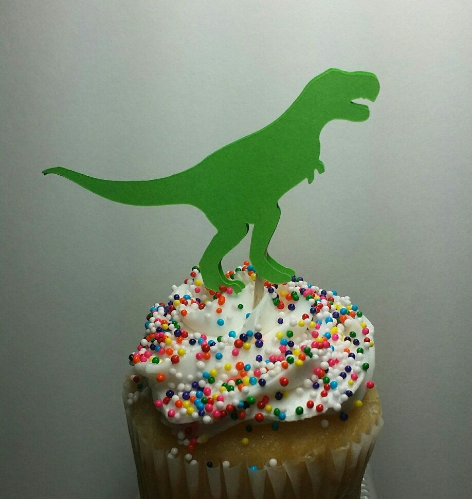 Green Dinosaur Cupcake Toppers, 12 Count, Boys Birthday Party, Dinosaur Birthday Party Decorations, Green Cupcakes, Dinosaur Theme Party by madgicalcreations on Etsy