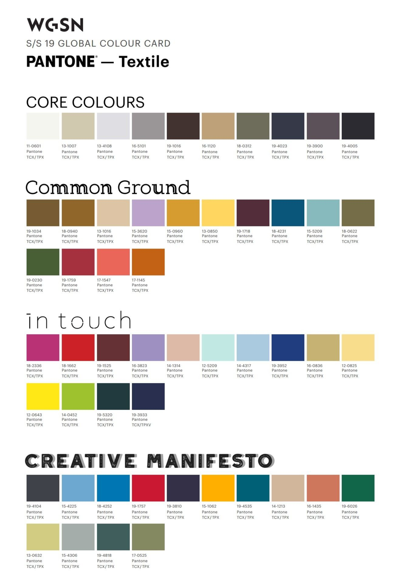 Pantone Color Chart Spring