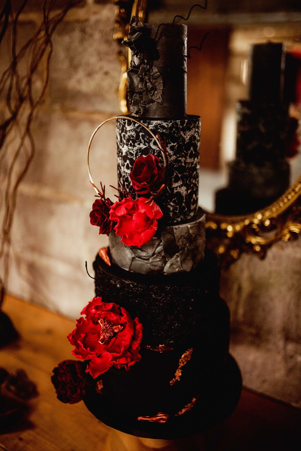 Black wedding cake gothic wedding cake in 2020 gothic