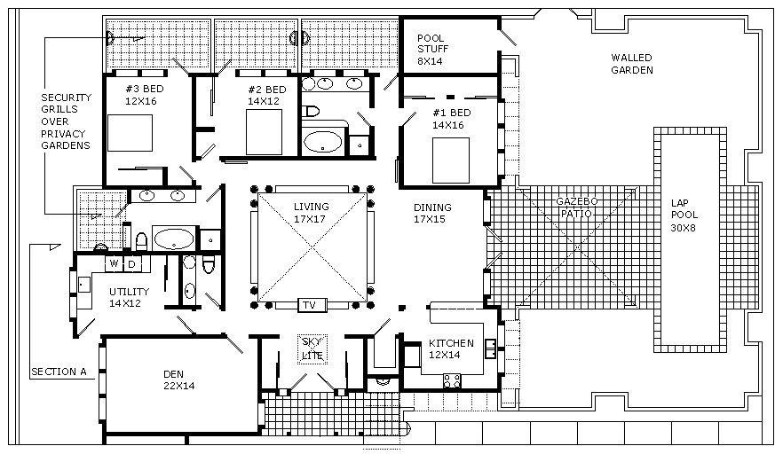 Steel Home Plans And Designs Floor Plan And Cross Section Unique House Design Floor Plans Bungalow House Design