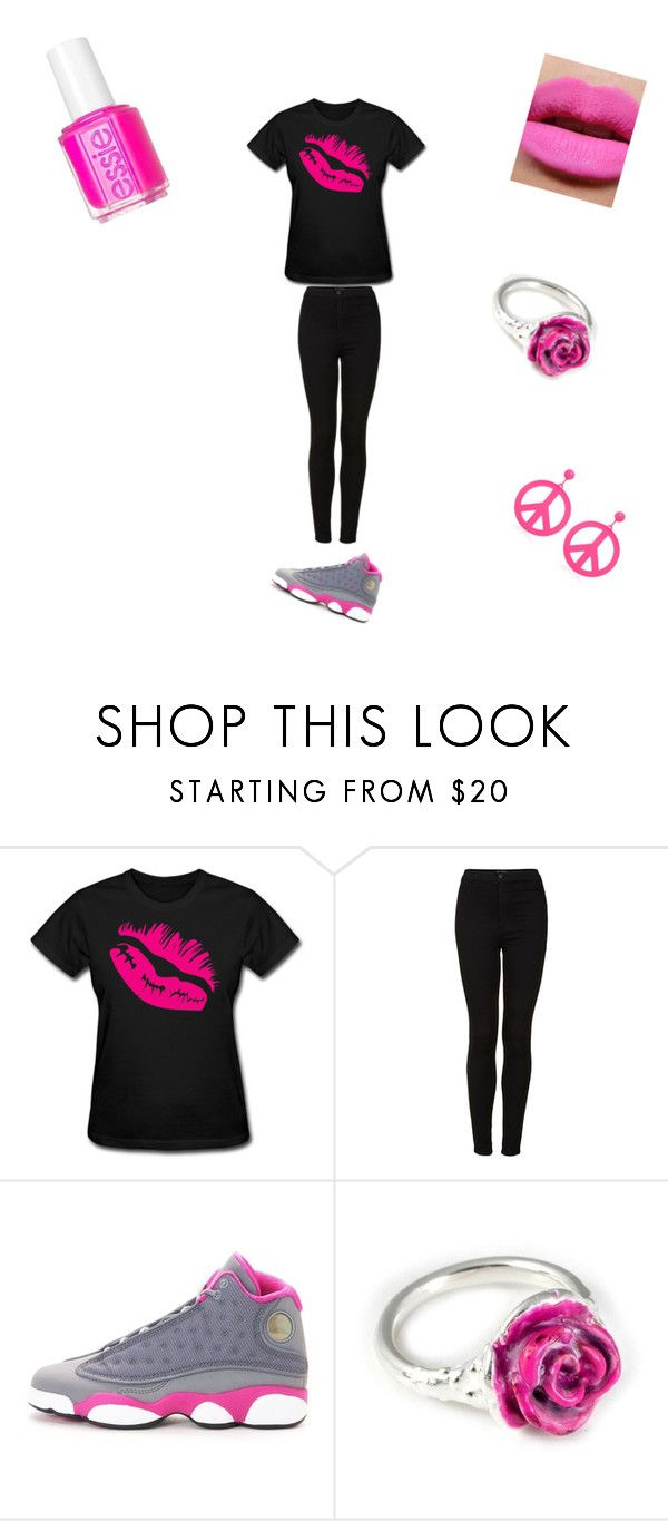 """""""Going All Pink!"""" by youcancallmejay77 ❤ liked on Polyvore featuring Topshop, Essie, NIKE, LeiVanKash and Moschino"""