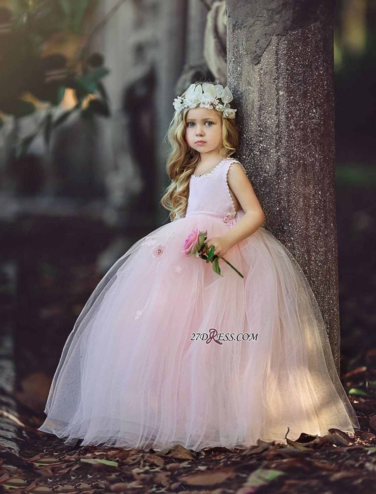 2dcd2840831e Ball-Gown Long Pink Cute Flower Girl Dresses BA6882 High Quality ...