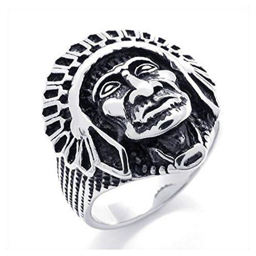 "KONOV Men's Vintage Stainless Steel Native American Indian Ring, Black Silver, Size 11. Including one velvet bag printed brand name ""KONOV"" on it. Material: Stainless Steel; Color: Black & Silver. Width: 25mm (0.98 inches). Available sizes: 8 - 13."