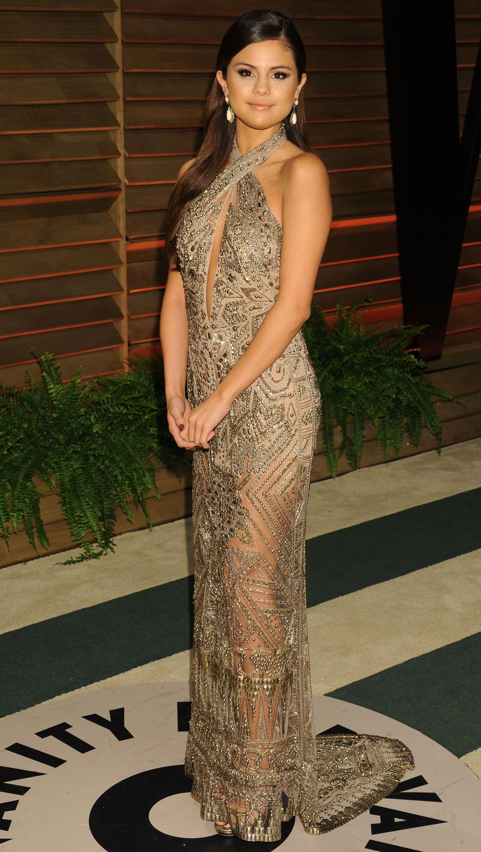 Angelina Muniz Nova selena gomez - vanity fair oscar party | selena gomez dress
