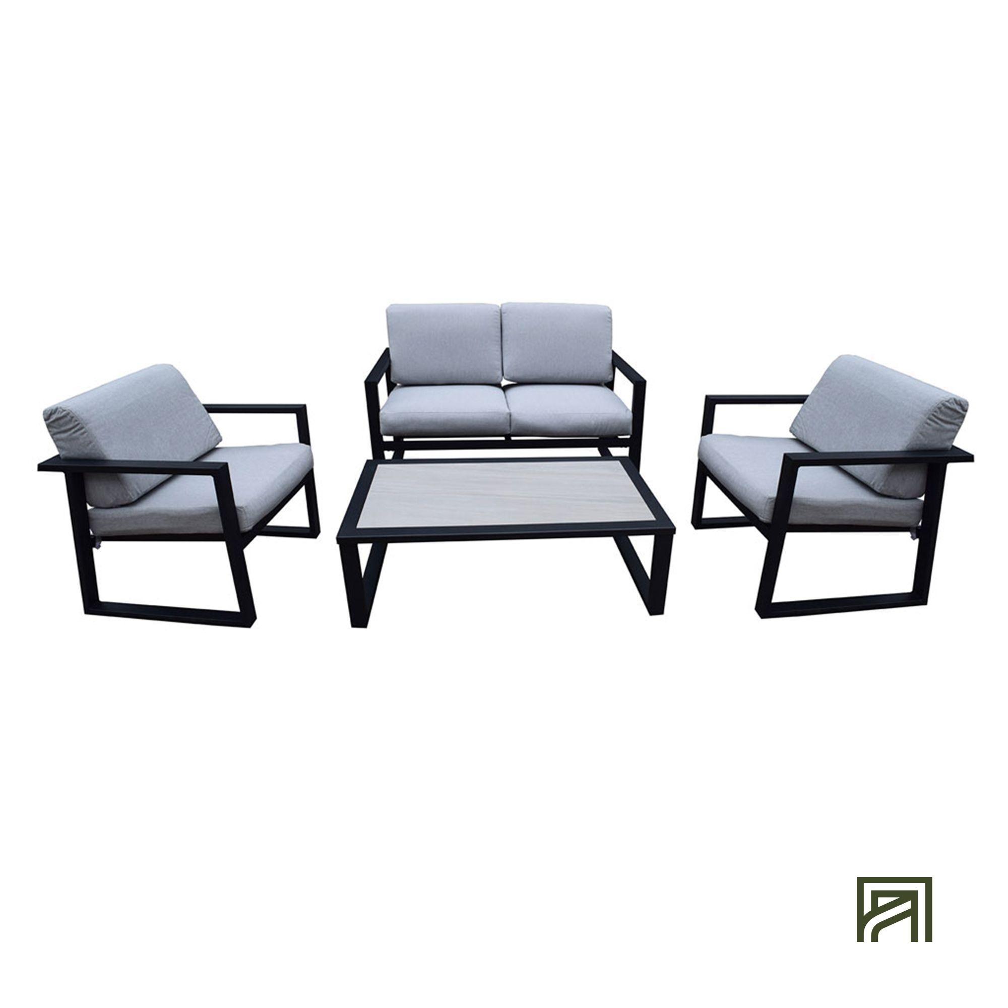 alinea : maria salon de jardin noir et gris en aluminium (4 places ...