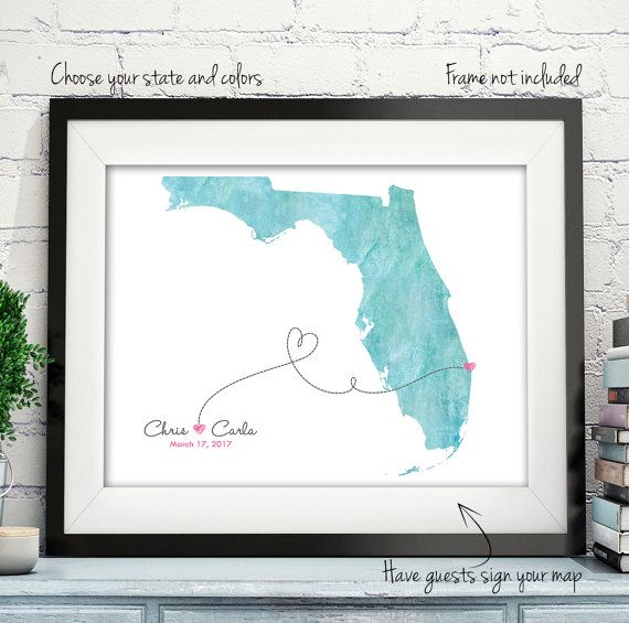 Wedding Guest Book Alternative Map Gift Custom Unique Personalized