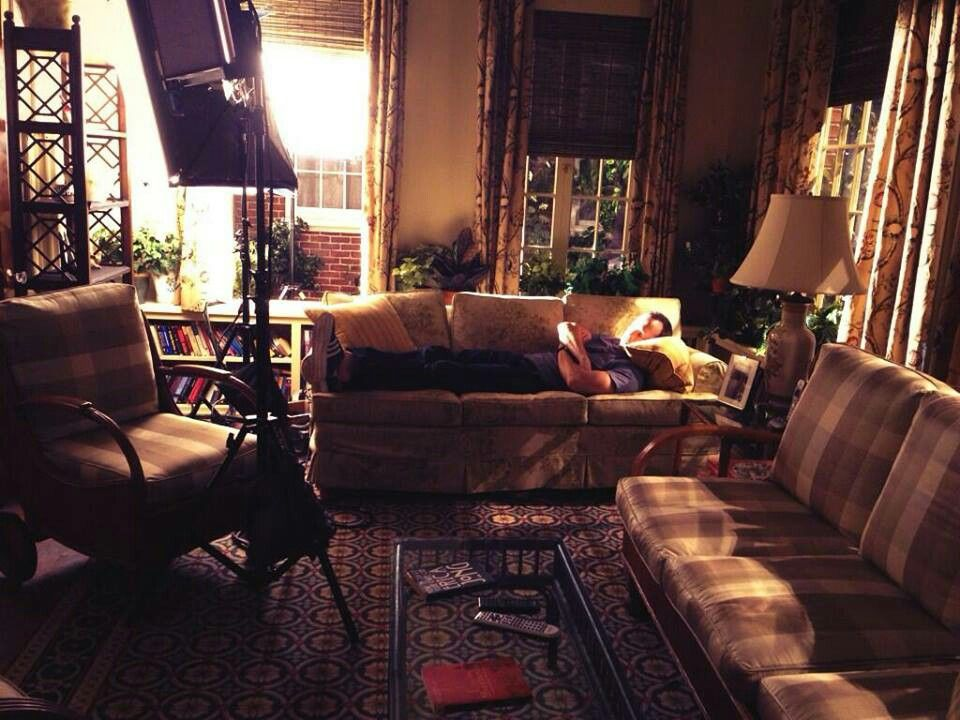Donnie napping on the set of Blue Bloods.
