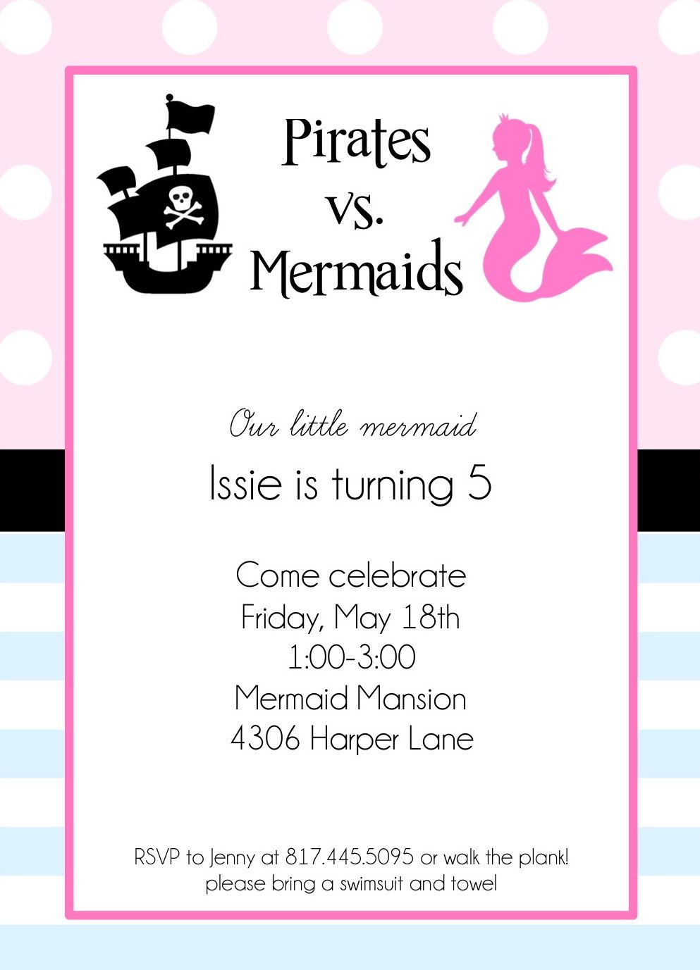 Printable Invitations- Pirates vs. Mermaids Party by Bloom. $12.00 ...