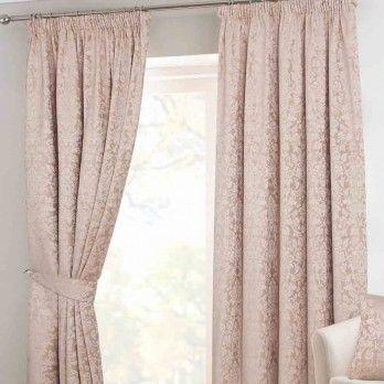 Velvet Jacquard Latte Pencil Pleat Lined Curtain Pair