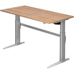 Sitz-Steh-Schreibtisch elektrisch Xe16 160x80cm Nussbaum Gestellfarbe: Silber HammerbacherHammerbach