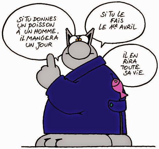 Le Bistrot Du Français Le 1er Avril Avec Le Chat De Geluck Le Chat Geluck Poisson D Avril Poisson D Avril Blague