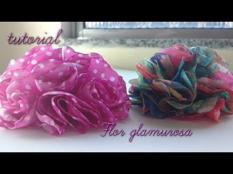 Como Hacer Una Flor Glamorosa De Tela Glamorous Flower Youtube Diy Flores De Tecido Flor De Tecido Fazer Flores De Tecido