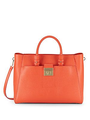 7d79980ddb9bb Versace Collection Textured Leather Satchel - Coral - Size No Size ...