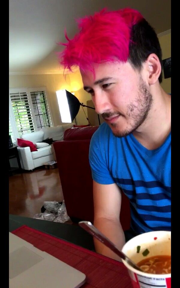 Here We See The Pink Haired Markiplier In His Natural Habitat Beside His Cup O Noodles That He Was Hunted Markiplier Darkiplier Markiplier Hair
