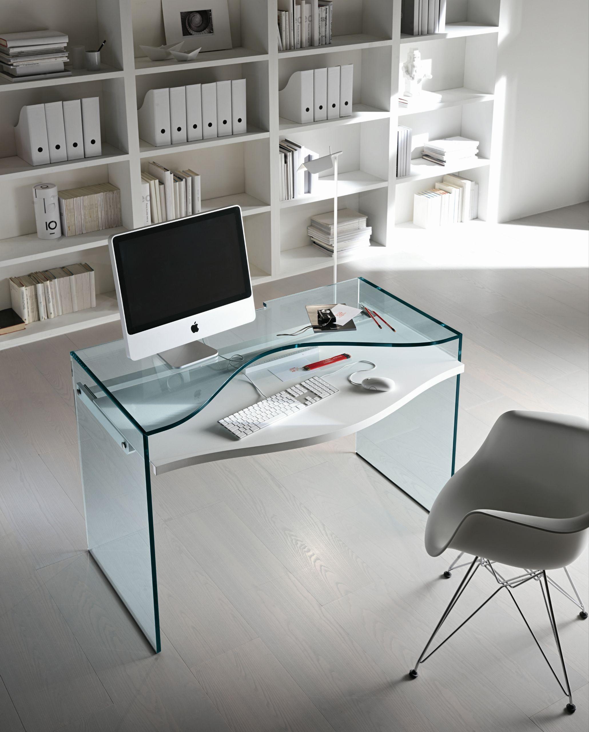 Escritorio de vidrio para pc strata t d tonelli design - Mesas ordenador pequenas ...