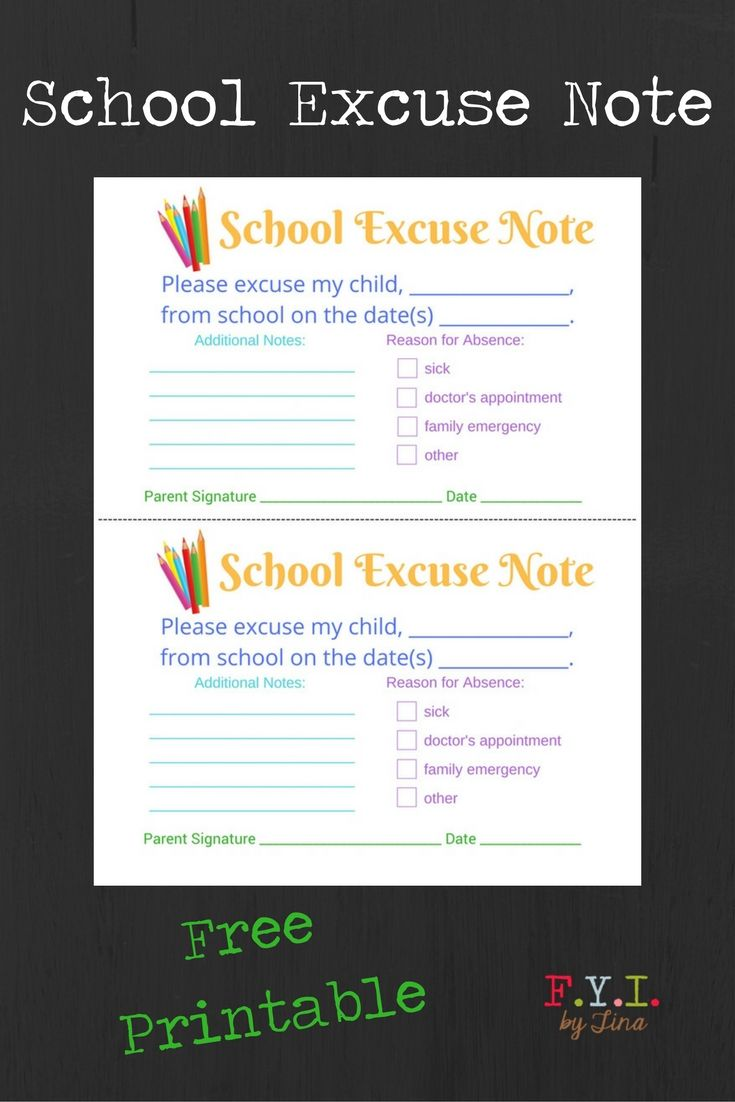 School Excuse Note Free Printable Fyi By Tina School Template Notes To Parents Notes Free